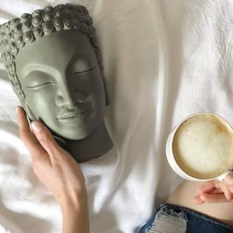 Скульптура органайзер Vase Head в образі Будди 21 см кхакі