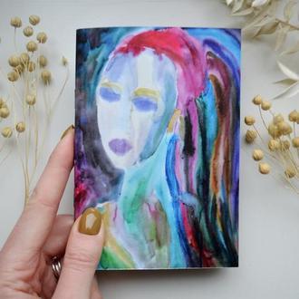Блокнот с черными страницами и белая ручка. Формат А6. Иллюстрация Портрет девушки №3