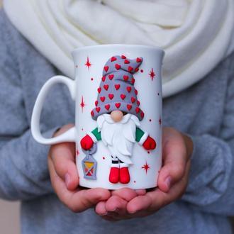 Рождество, Новый год, Новогодняя чашка, Новогодний гном, Гном, Новогодний подарок, Чашка на подарок