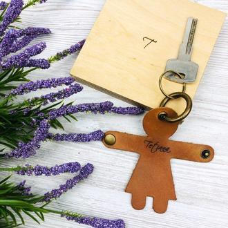 Шкіряний брелок для ключів Аксессуар для жінок Подарунок на третю річницю весілля