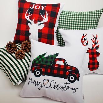 Новорічні подарунки, новорічні подушки, подушка олень, подушка машина з ялинкою,