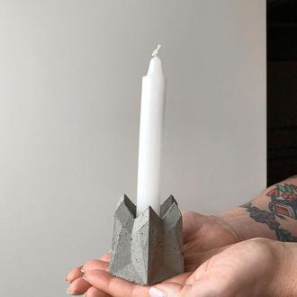 Подсвечник из бетона + свеча в подарок