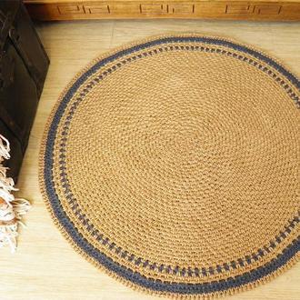 Коврик циновка 90см круглый безворсовый натуральный из джута Ручная работа