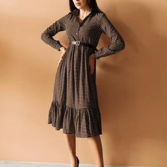 Сукня міді хакі з коричневим