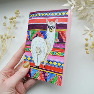 Блокнот с нежно-розовыми страницами. Подарок для девушки. Авторская иллюстрация Лама