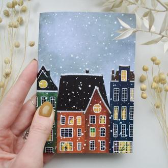 Блокнот А6. Бумага айвори. Авторская иллюстрация Первый снег.