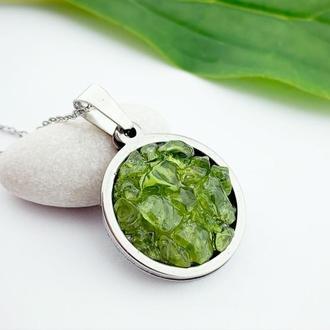 Салатовый кулон с хризолитом Подвеска друза кристаллы Подарок девушке (модель № 623) JK jewelry