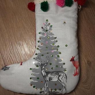 Новогодний носок для подаркой