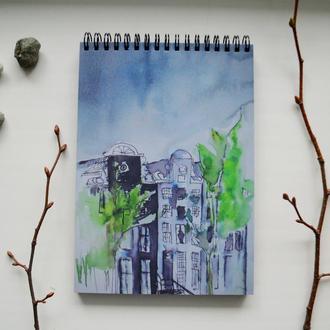 Блокнот А5 с черными страницами и белая ручка. Авторская иллюстрация Дождь в Амстердаме. 90 листов