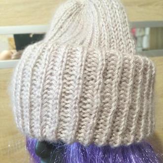 Объемная шапка с двойным отворотом в стиле Такори