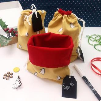 Подарочный набор мешочков для трав, Желтый пингвин, 22х17 см, 3 шт, Новый год