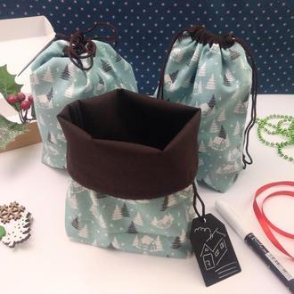 Подарочный набор мешочков для трав, Зима, 22х17 см, 3 шт, Новый год