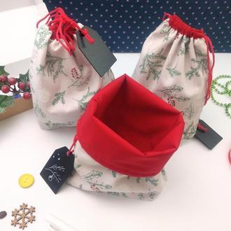 Подарочный набор мешочков для трав, Ветка елки, 22х17 см, 3 шт, Новый год