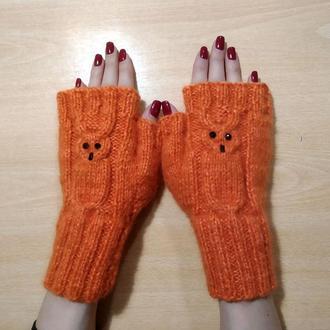 Митенки перчатки без пальцев - совы - милые совушки