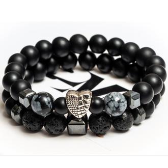 Парные браслеты DMS Jewelry из шунгита, обсидиана, лавового камня из сердцем ALL WE NEED IS LOVE