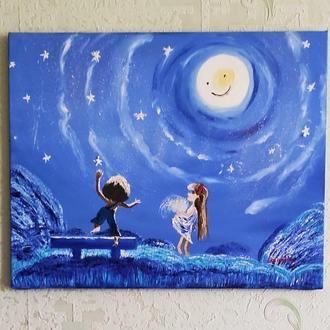 """Картина на полотні""""Весела Луна""""50/40см"""