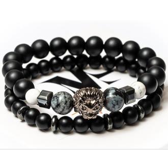 Парные браслеты мужские DMS Jewelry из шунгита, кахолонга, обсидиана со львом BRAVE LION