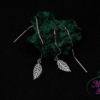 Серебряные серьги протяжки Листья
