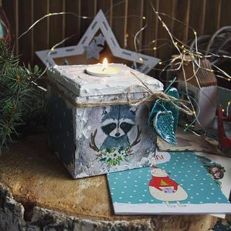 короб подсвечник новогодний с енотом