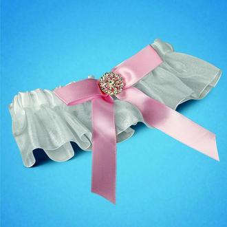 Свадебная подвязка с розовым бантиком