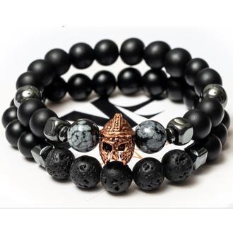 Парные браслеты мужские DMS Jewelry из шунгита, обсидиана, лавового камня GRAY KNIGHT