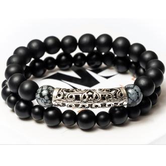 Парні чоловічі браслети DMS Jewelry з шунгита, обсидіану GRAY METAL STYLE