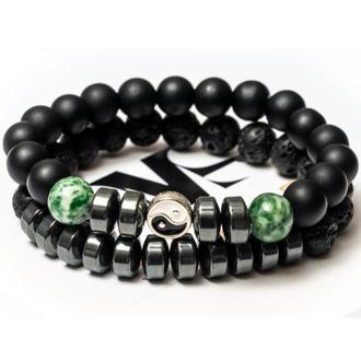 Парные браслеты мужские DMS Jewelry из шунгита, лавового камня, агата с дисками GREEN AGATE YIN YAN