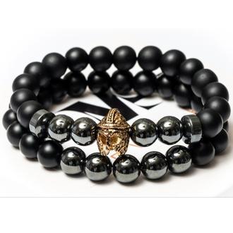 Парні чоловічі браслети DMS Jewelry з шунгита, гематиту з шоломом KNIGHT
