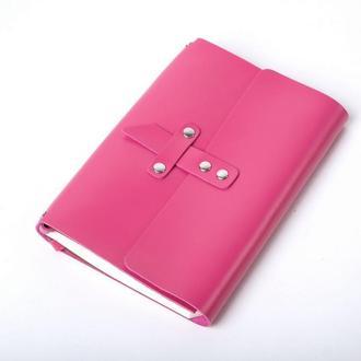 Кожаный блокнот А5 «Nota5 Fuchsia» (розовый, с гравировкой, для рисования, женский)