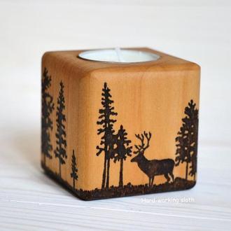 Подсвечник куб «Олень в лесу»