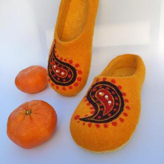 """Тапочки женские """"апельсиновые Пэйсли"""""""