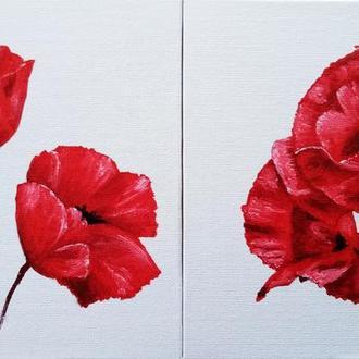 Картина-диптих маслом 20х20 см Маки