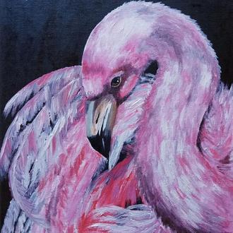 Картина маслом 25х35 Фламинго