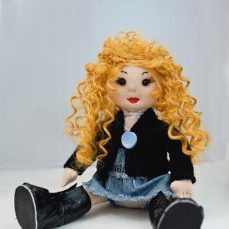 Кукла  с вьющимися волосами, Тряпичная кукла