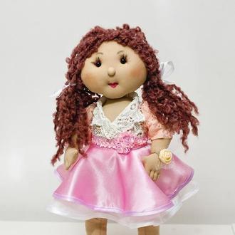 Интерьерная кукла  в розовом платье