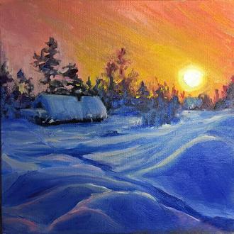 Картина зима зимовий пейзаж маслом