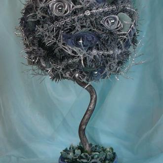 Заснеженная Рождественская елочка ( топиарий )
