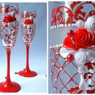 Свадебные бокалы  ручной работы красные