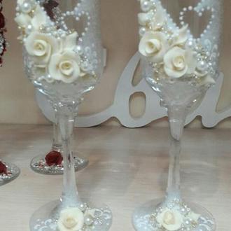 Свадебные бокалы  ручной работы Ф-02 (айвори)