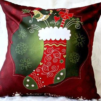 Подушка новорічна для декору 45 * 45 см. Декоративні подушки