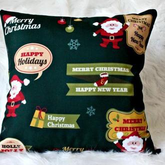 Зелёная подушечка с новогодним принтом, 45 см