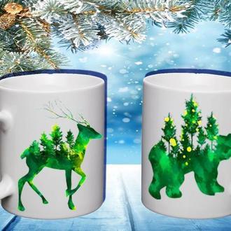 """К000492Парные белые чашки (кружки) с принтом """"Зеленые животные"""""""