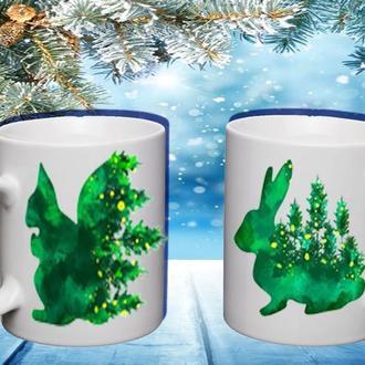 """К000493Парные белые чашки (кружки) с принтом """"Зеленые животные ЭКО"""""""
