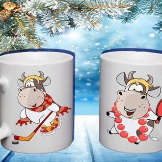"""К000494Парные белые чашки (кружки) с принтом """"Коровушки"""""""