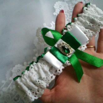 Подвязка на ногу зеленая