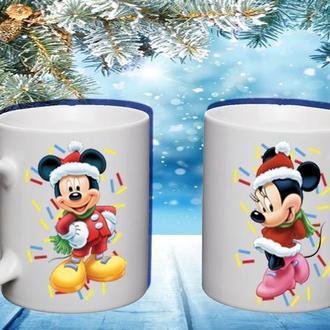 """К000509Парные белые чашки (кружки) с принтом """"Микки и Минни Маус: Новый Год"""""""