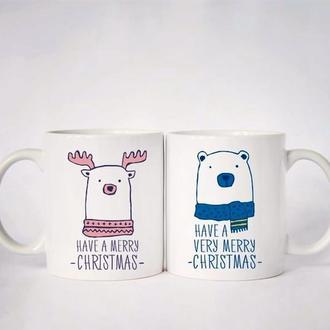"""К000511Парные белые чашки (кружки) с принтом """"Have a merry christmas"""""""