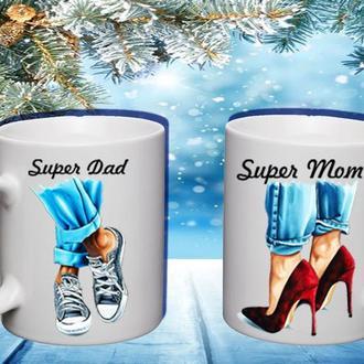 """К000518Парные белые чашки (кружки) с принтом """"Супер папа. Супер мама"""""""