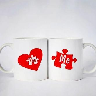 """Парные белые чашки (кружки) с принтом """"Сердце. Пазл"""""""