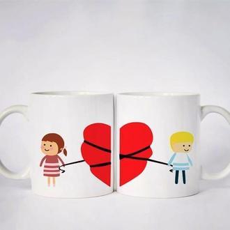 """К000526Парные белые чашки (кружки) с принтом """"Связанное сердце"""""""